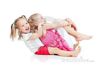 Adorable children having funny good pastime