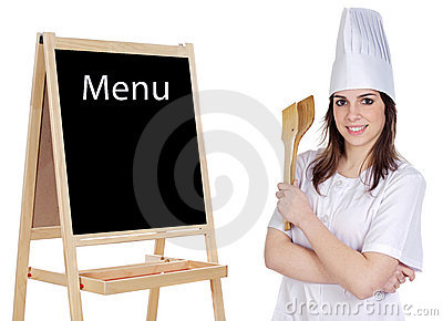 Adorable cook with a blackboard