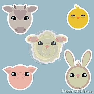 Adorable domestic animals stickers