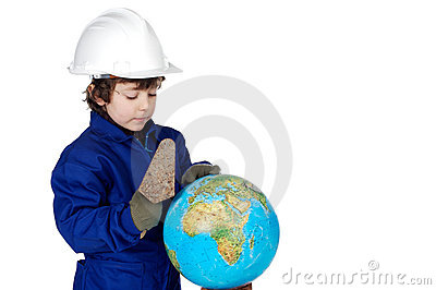 Adorable future builder constructing the world