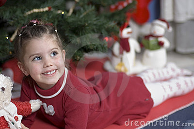 Adorable girl at Christmas time