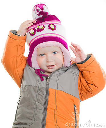 Free Adorable Girl Dressing Up Winter Jacket And Hat Stock Images - 20305404