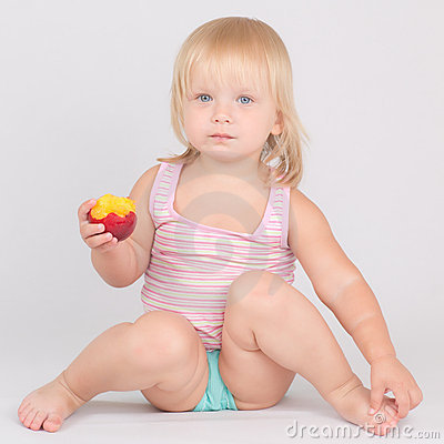 Free Adorable Girl Eat Red Fresh Peach Sitting On White Royalty Free Stock Photography - 20304417
