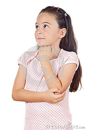 Adorable girl thinking