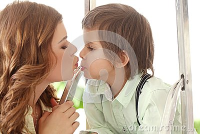 Adorable kid and mother