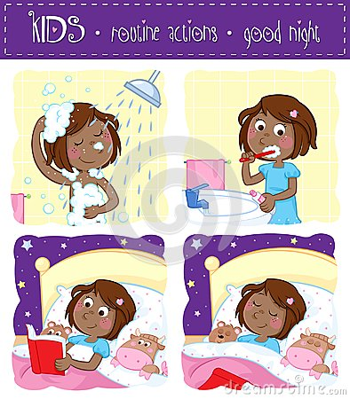 Free Adorable Little Black Girl And Her Good Night Routine - Showering, Tooth Brushing, Reading Bedtime Story, Sleeping Stock Photo - 106316450