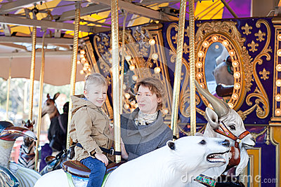 Family at the amusement park