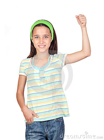 Adorable little girl with the arm raised