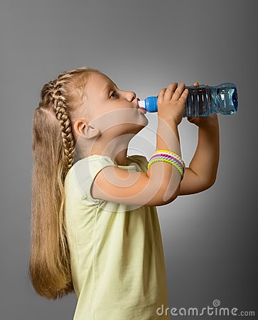 Free Adorable Little Girl Drinking Fresh Clean Water From Plastic Bottle On Grey Royalty Free Stock Images - 111959739