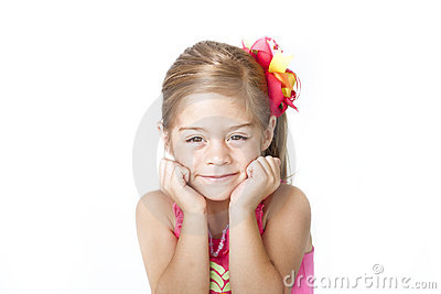 Adorable Little Girl Face on white background