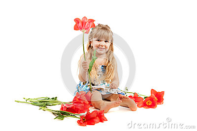 Little girl with tulips bouquet