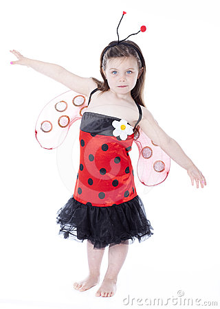 Adorable little girl in ladybug costume