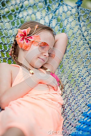 Free Adorable Little Girl On Summer Vacation Relaxing In Hammock Stock Image - 68894341