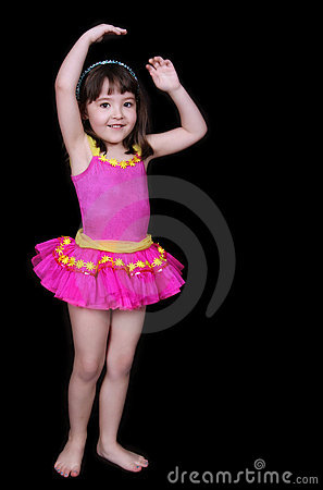 Adorable little girl in pink tu-tu isolated