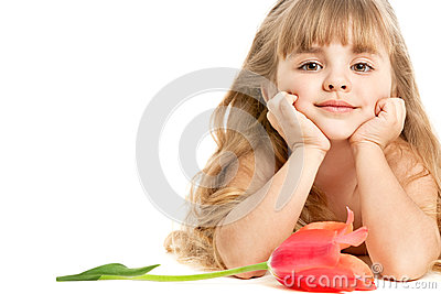 Little girl with tulip