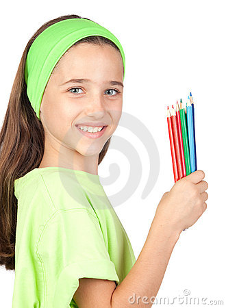 Free Adorable Little Girl With Many Colored Pencils Royalty Free Stock Photography - 15051577