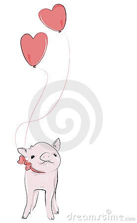 Adorable little pet piggy, with heart balloons