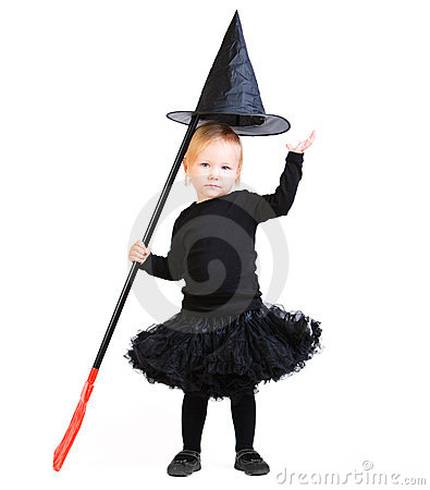 Adorable little witch isolated