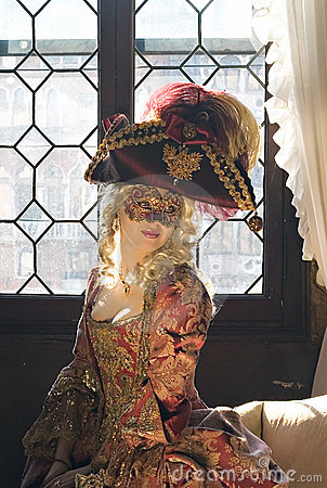 Adorable nobility woman in mask