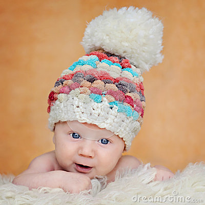 Adorable portrait of two months old baby