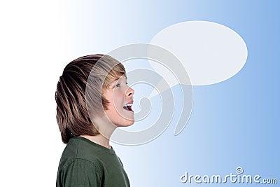Adorable preteen boy shouting