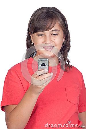 Adorable preteen girl with a mobile
