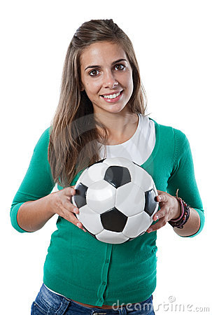 Adorable pretty girl with soccer ball