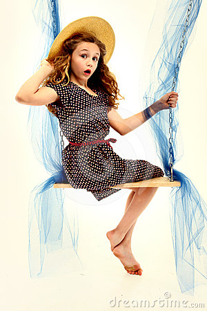 Adorable Retro Style Child Portrait Girl on Swing