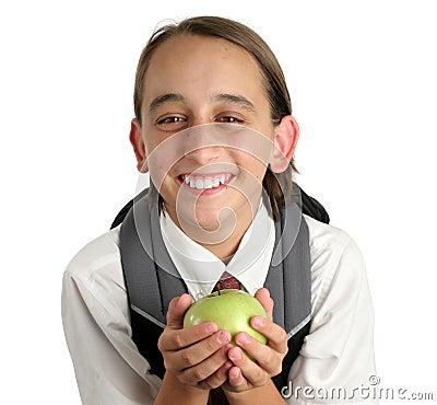 Adorable School Boy with Apple