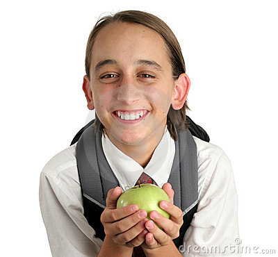 Free Adorable School Boy With Apple Stock Image - 444281