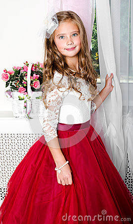 Free Adorable Smiling Little Girl Child In Princess Dress Stock Photography - 98017042