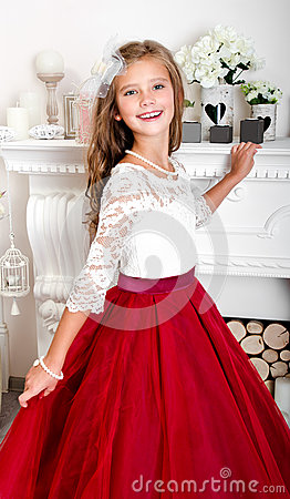 Free Adorable Smiling Little Girl Child In Princess Dress Royalty Free Stock Image - 98017266