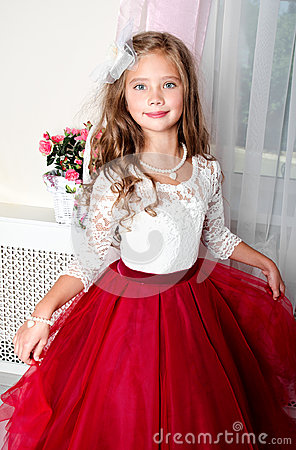 Free Adorable Smiling Little Girl Child In Princess Dress Royalty Free Stock Image - 98583986