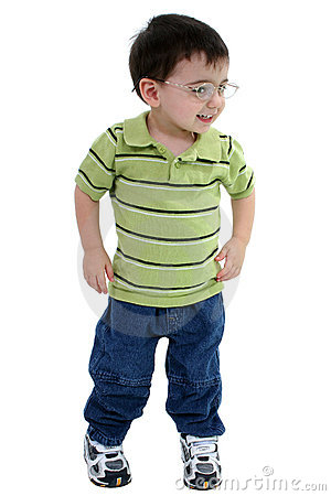 Free Adorable Toddler Boy In Glasses Over White Royalty Free Stock Image - 121916