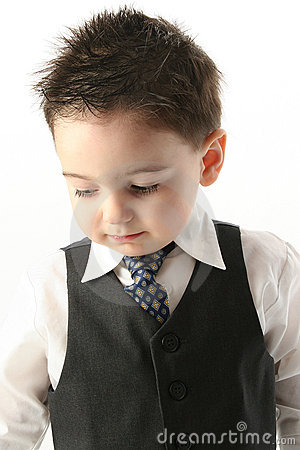 Adorable Toddler Boy In Vest and Tie
