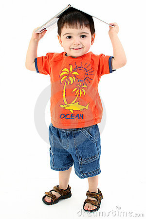 Free Adorable Toddler Boy With Book On Head Royalty Free Stock Photo - 203345