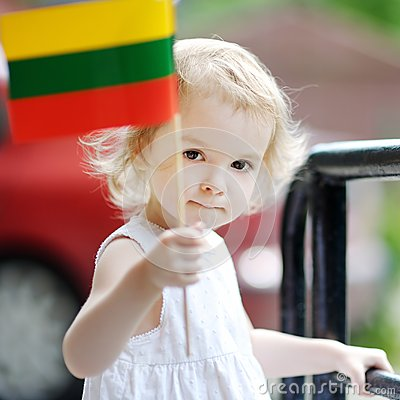 Free Adorable Toddler Girl With Lithuanian Flag Stock Image - 65703981