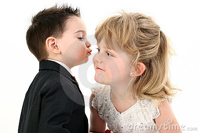 Adorable Two Year Old Boy Puckered Up To Give His Girl A Kiss