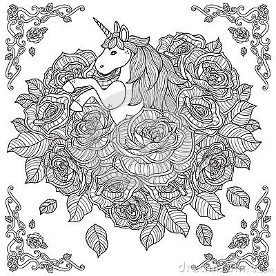 Adorable Unicorn And Roses Background Stock Vector - Image ...