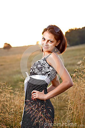 Adorable woman in field