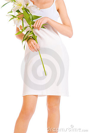 Adorable woman with flowers