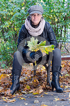 Adorable women in autumn scenery