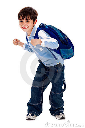 Free Adorable Young Kid Holding His School Bag Royalty Free Stock Image - 15318476