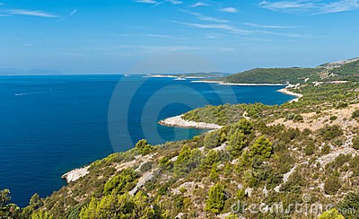 Adriatic island sea coast scenic view. Hvar