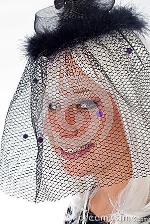 Adult Caucasian Female in Black Veil