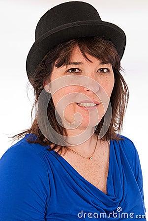 Adult Caucasian Female Wearing a Black Top Hat