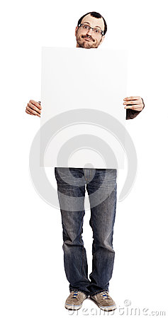 Goofy Faced Man Holding Blank Sign