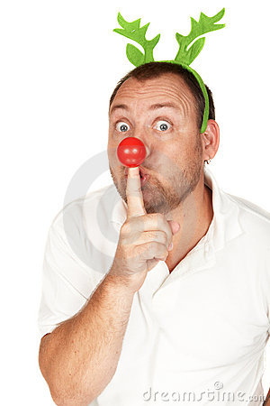 Adult Caucasian man with red nose