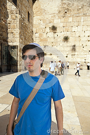 Tourist at the Western Wall