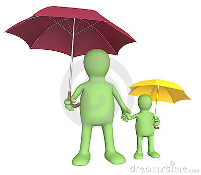 Adult and child with umbrellas